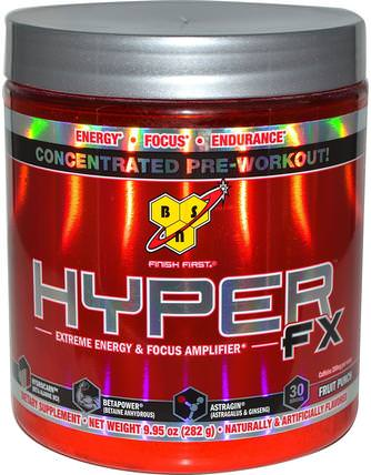 Hyper FX, Extreme Energy & Focus Amplifier, Fruit Punch, 9.95 oz (282 g) by BSN, 健康,能量,運動,鍛煉 HK 香港