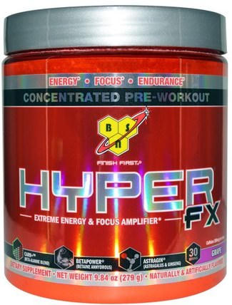 Hyper FX, Extreme Energy & Focus Amplifier, Grape, 9.84 oz (279 g) by BSN, 健康,能量,運動,鍛煉 HK 香港