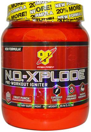 N.O.-Xplode, Pre-Workout Igniter, Fruit Punch, 2.45 lbs (1.11 kg) by BSN, 健康,能量,運動,鍛煉 HK 香港