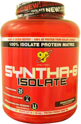 Syntha-6 Isolate, Protein Powder Drink Mix, Chocolate Milkshake, 4.01 lbs (1.82 kg) by BSN, 補充劑,乳清蛋白 HK 香港