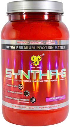 Syntha-6, Lean Muscle Protein Powder Drink Mix, Strawberry Milkshake, 2.91 lbs (1.32 kg) by BSN, 補充劑,蛋白質 HK 香港