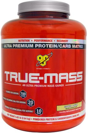 True-Mass, Powdered Protein & Carbohydrate Drink Mix, Cookies & Cream, 5.82 lbs (2.64 kg) by BSN, 運動,鍛煉 HK 香港