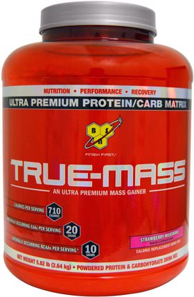 True-Mass, Ultra Premium Protein/Carb Matrix, Strawberry Milk Shake, 5.82 lbs (2.64 kg) by BSN, 運動,鍛煉 HK 香港