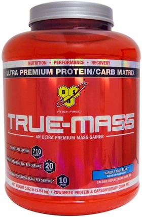True Mass, Ultra Premium Protein/Carb Matrix, Vanilla Ice Cream, 5.82 lbs (2.64 kg) by BSN, 補充劑,蛋白質 HK 香港