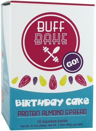 Birthday Cake, Protein Almond Spread, 10 Squeeze Packs, 1.25 oz (36 g) Each by Buff Bake, 食物,果醬蔓延 HK 香港