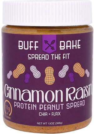 Cinnamon Raisin Protein Peanut Spread, 13 oz (368 g) by Buff Bake, 食物,花生醬 HK 香港