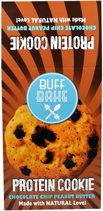 Protein Cookie, Chocolate Chip Peanut Butter, 12 Cookies - 2.82 oz (80 g) Each by Buff Bake, 補品,蛋白質,零食,餅乾 HK 香港