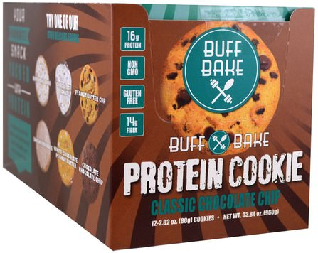 Protein Cookie, Classic Chocolate Chip, 12 Cookies, 2.82 oz (80 g) Each by Buff Bake, 運動,蛋白質棒 HK 香港