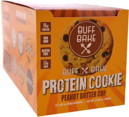 Protein Cookie, Peanut Butter Cup, 12 Cookies, 2.82 oz (80 g) Each by Buff Bake, 運動,蛋白質棒 HK 香港