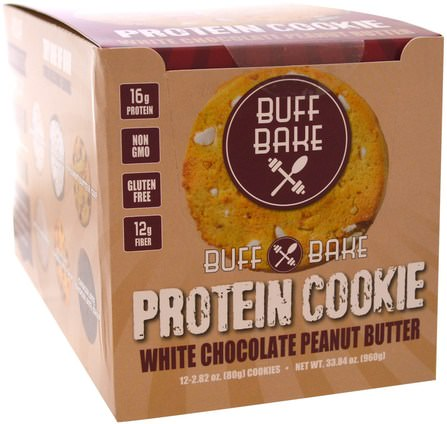 Protein Cookie, White Chocolate Peanut Butter, 12 Cookies, 2.82 oz (80 g) Each by Buff Bake, 運動,蛋白質棒 HK 香港