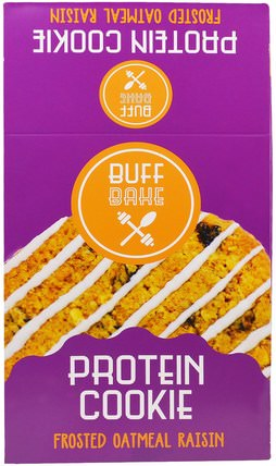 Protein Cookies, Frosted Oatmeal Raisin, 12 Cookies, 2.82 oz (80 g) Each by Buff Bake, 補品,蛋白質,零食,餅乾 HK 香港