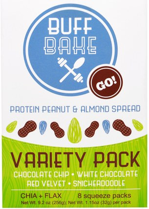 Protein Peanut & Almond Spread, Variety Pack, 8 Squeeze Packs, 1.15 oz (32 g) Each by Buff Bake, 食物,果醬蔓延 HK 香港