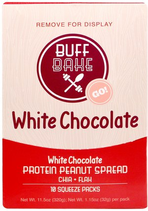 White Chocolate Protein Peanut Spread, 10 Squeeze Packs, 1.15 oz (32 g) Each by Buff Bake, 食物,果醬蔓延 HK 香港