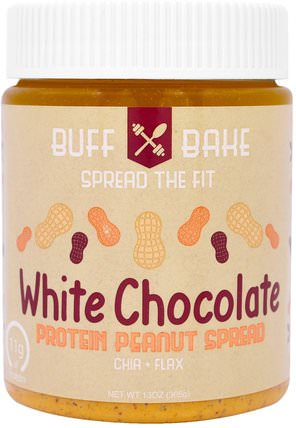 White Chocolate Protein Peanut Spread, 13 oz (368 g) by Buff Bake, 食物,花生醬,果醬蔓延 HK 香港