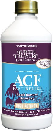 Buried Treasure, Liquid Nutrients, ACF Fast Relief, Immune Support, 16 fl oz (473 ml) 健康,感冒流感和病毒,免疫系統,埋藏的寶藏功能特定和季節性