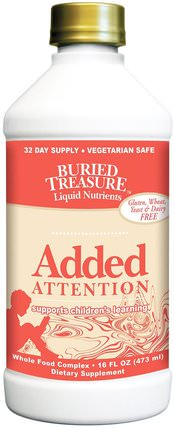 Liquid Nutrients, Added Attention, 16 fl oz (473 ml) by Buried Treasure, 健康,注意力缺陷障礙,添加,adhd,腦 HK 香港