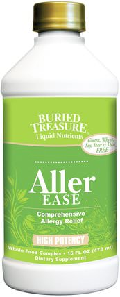 Liquid Nutrients, Aller Ease, 16 fl oz (473 ml) by Buried Treasure, 健康,過敏,過敏,埋寶功能特定和季節性 HK 香港