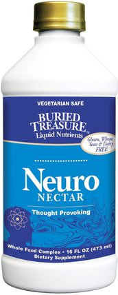 Liquid Nutrients, Neuro-Nectar, 16 fl oz (473 ml) by Buried Treasure, 健康,注意力缺陷障礙,添加,adhd,腦,草藥,銀杏葉 HK 香港