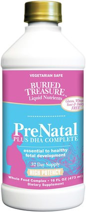 Nutritionals, PreNatal Plus DHA Complete, 16 fl oz (473 ml) by Buried Treasure, 維生素,產前多種維生素,埋藏寶功能特定和季節性 HK 香港