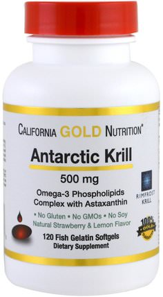CGN, Antarctic Krill Oil, with Astaxanthin, RIMFROST, Natural Strawberry & Lemon Flavor, 500 mg, 120 Fish Gelatin Softgels by California Gold Nutrition, cgn磷蝦油,補充劑,efa omega 3 6 9(epa dha) HK 香港