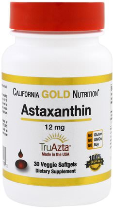 CGN, Astaxanthin, Triple-Strength, Natural, U.S. Sourced & Made, No GMOs, 12 mg, 30 Veggie Softgels by California Gold Nutrition, 補充劑,抗氧化劑,蝦青素,蝦青素 HK 香港