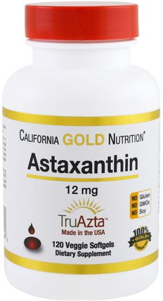 CGN, Astaxanthin, Triple-Strength, Natural, U.S. Sourced & Made, No GMOs, 12mg, 120 Veggie Softgels by California Gold Nutrition, 補充劑,抗氧化劑,蝦青素,蝦青素 HK 香港