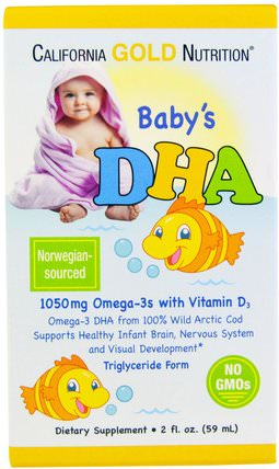 CGN, Babys DHA, 1050 mg, Omega-3s with Vitamin D3, 2 fl oz (59 ml) by California Gold Nutrition, 補充劑,efa omega 3 6 9(epa dha),dha,cgn dha,cgn媽媽和寶寶 HK 香港