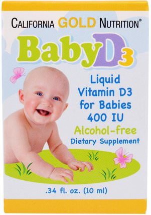 CGN, Baby Vitamin D3 Drops, 400 IU.34 fl oz (10 ml) by California Gold Nutrition, cgn嬰兒維生素d3,cgn媽媽和嬰兒 HK 香港