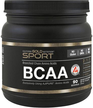 CGN, BCAA, AjiPure, Branched Chain Amino Acids, Gluten Free, 16 oz (454 g) by California Gold Nutrition, bcaa(支鏈氨基酸),cgn bcaas,cgn氨基酸 HK 香港
