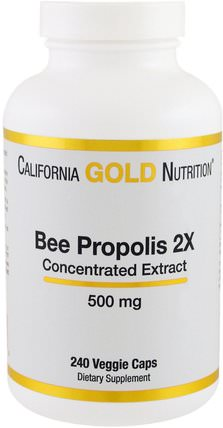 CGN, Bee Propolis 2X, Concentrated Extract, 500 mg, 240 Veggie Caps by California Gold Nutrition, cgn蜂膠,補品,超級食品 HK 香港