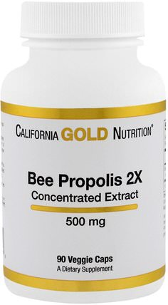CGN, Bee Propolis 2X, Concentrated Extract, 500 mg, 90 Veggie Caps by California Gold Nutrition, cgn蜂膠,補品,超級食品 HK 香港