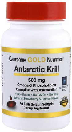 CGN, Antarctic Krill Oil, with Astaxanthin, RIMFROST, Natural Strawberry & Lemon Flavor, 500 mg, 30 Fish Gelatin Softgels by California Gold Nutrition, cgn磷蝦油,補充劑,efa omega 3 6 9(epa dha) HK 香港