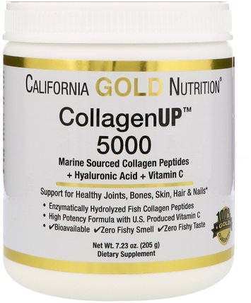CGN, CollagenUP 5000, Marine Sourced Collagen Peptides + Hyaluronic Acid + Vitamin C, 7.23 oz (205 g) by California Gold Nutrition, cgn collagenup,抗衰老 HK 香港
