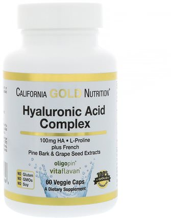 CGN, Hyaluronic Acid, with L-Proline + French Pine Bark & Grape Seed Extracts, 100 mg, 60 Veggie Caps by California Gold Nutrition, 健康,骨骼,骨質疏鬆,抗衰老,關節健康 HK 香港