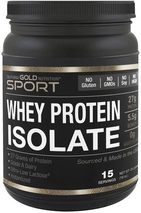 CGN, Instantized Whey Protein Isolate, Ultra-Low Lactose, Unflavored, 1 lb, 16 oz (454 g) by California Gold Nutrition, 補充劑,乳清蛋白,運動,運動 HK 香港