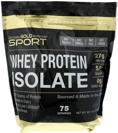 CGN, Instantized Whey Protein Isolate, Ultra-Low Lactose, Unflavored, 75 Servings, 5 lb, 80.1 oz (2270 g) by California Gold Nutrition, cgn純運動,cgn蛋白質 HK 香港