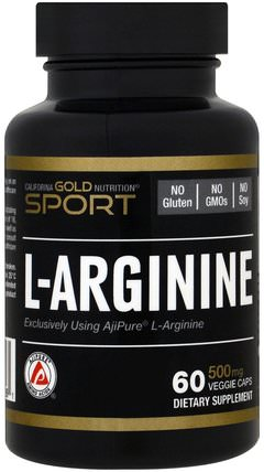 CGN, Sport, L-Arginine, AjiPure, 500 mg, 60 Veggie Caps by California Gold Nutrition, cgn純運動,cgn氨基酸 HK 香港