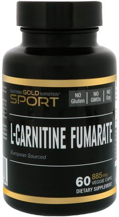 CGN, Sport, L-Carnitine Fumarate, 885 mg, 60 Veggie Caps by California Gold Nutrition, cgn純運動,cgn氨基酸,氨基酸,l肉毒鹼 HK 香港