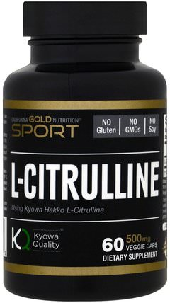 CGN, Sport, L-Citrulline, Kyowa Hakko, 500 mg, 60 Veggie Caps by California Gold Nutrition, cgn純運動,cgn氨基酸 HK 香港