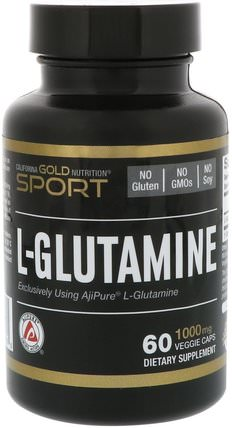 CGN, Sport, L-Glutamine, AjiPure, 1000 mg, 60 Veggie Caps by California Gold Nutrition, cgn純運動,cgn氨基酸 HK 香港