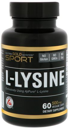 CGN, Sport, L-Lysine, 500 mg, 60 Veggie Caps by California Gold Nutrition, cgn純運動,cgn氨基酸 HK 香港