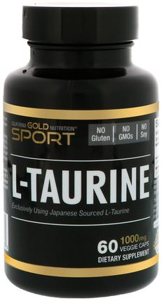 CGN, Sport, L-Taurine, 1000 mg, 60 Veggie Caps by California Gold Nutrition, cgn純運動,cgn氨基酸 HK 香港