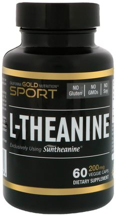 CGN, Sport, L-Theanine, 200 mg, 60 Veggie Caps by California Gold Nutrition, cgn純運動,cgn氨基酸 HK 香港