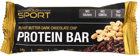 CGN, Sport, Protein Bar, Peanut Butter Dark Chocolate Chip, Gluten Free, 2.1 oz (60 g ) by California Gold Nutrition, cgn純運動,cgn蛋白質 HK 香港