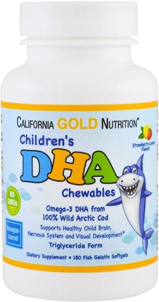 CGN, Childrens DHA Chewables, 100% Wild Arctic Cod, Strawberry-Lemon Flavor, 180 Fish Gelatin Softgels by California Gold Nutrition, 補充劑,efa omega 3 6 9(epa dha) HK 香港