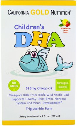 CGN, Childrens DHA, Strawberry-Lemon Flavor, 525 mg Omega-3s, 8 fl oz (237 ml) by California Gold Nutrition, 補充劑,efa omega 3 6 9(epa dha),dha,cgn dha,cgn媽媽和寶寶 HK 香港