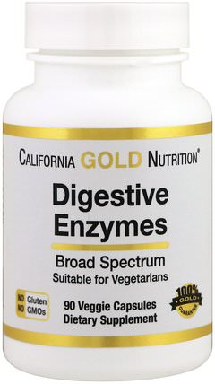 CGN, Digestive Enzymes, 90 Veggie Capsules by California Gold Nutrition, 補充劑,酶,cgn酶 HK 香港