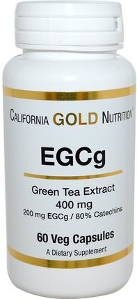 CGN, EGCg, Green Tea Extract, 400 mg, 60 Veggie Caps by California Gold Nutrition, 草藥,egcg HK 香港
