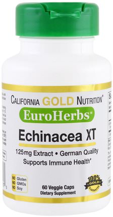 CGN, EuroHerbs, Echinacea Extract, 125 mg, 60 Veggie Caps by California Gold Nutrition, cgn euroherbs,補充劑,紫錐花 HK 香港