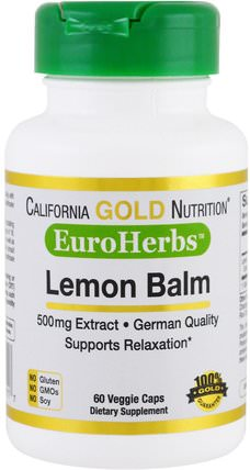 CGN, EuroHerbs, Lemon Balm Extract, 500 mg, 60 Veggie Caps by California Gold Nutrition, cgn euroherbs,草藥,檸檬香蜂蜜梅麗莎 HK 香港